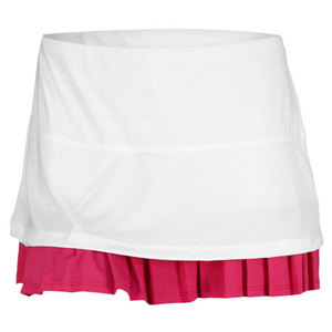 LUCKY IN LOVE WOMENS LAYERED PLEAT TENNIS SKIRT WH/PK
