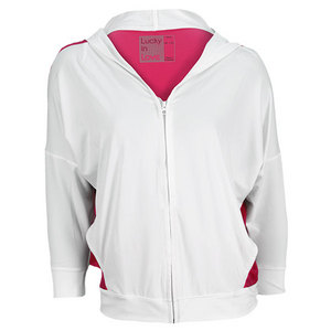 LUCKY IN LOVE WOMENS TENNIS HOODIE WHITE AND PINK
