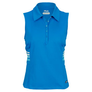 FILA WOMENS HERITAGE SLEEVELESS POLO BLUE