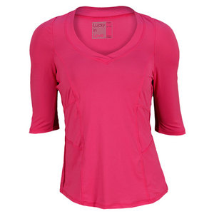 LUCKY IN LOVE WOMENS 3/4 SLEEVE TENNIS TOP PINK