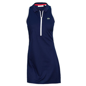 LACOSTE WOMENS TECHNICAL PIQUE DRESS BLUE/WH