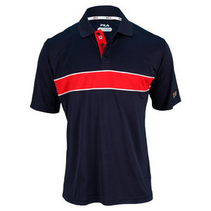 FILA MENS HERITAGE COLORBLOCKED POLO NAVY