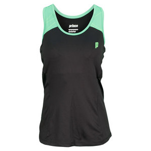 PRINCE WOMENS RACERBACK TENNIS TOP BLACK/GN