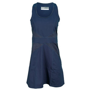 LIJA WOMENS PANELLED TENNIS DRESS NAVY
