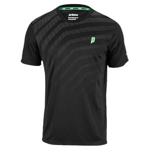 PRINCE MENS GRAPHIC TENNIS CREW BLACK AND GRAY