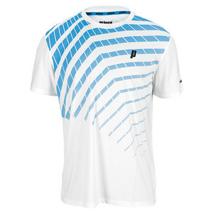 PRINCE MENS GRAPHIC TENNIS CREW WHITE AND BLUE