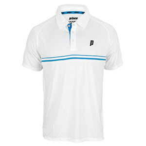 PRINCE MENS STRIPE TENNIS POLO WHITE AND BLUE