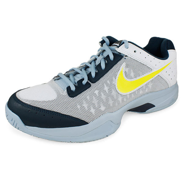 Junior's Air Cage Court Tennis Shoes White And Navy