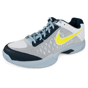 NIKE JUNIORS AIR CAGE COURT SHOES WHITE/NAVY