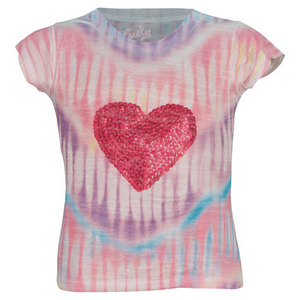 LUCKY IN LOVE GIRLS SEQUAN HEART BURNOUT TEE PRINT