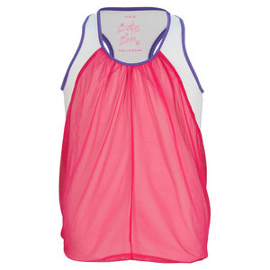 LUCKY IN LOVE GIRLS MESH DRAPPED TENNIS TANK PURPLE