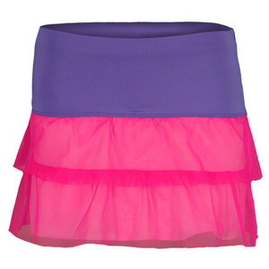 LUCKY IN LOVE GIRLS MESH BLOCK TENNIS SKIRT PURPLE