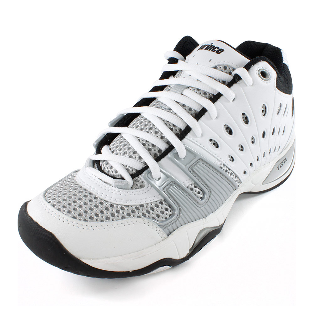 s t22 mid tennis shoe white and black