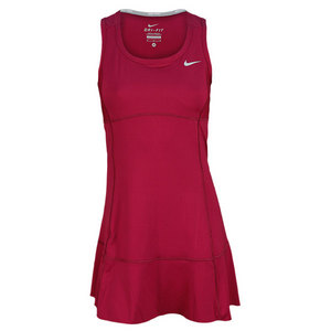 NIKE WOMENS FLOUNCY KNIT TENNIS DRESS RED