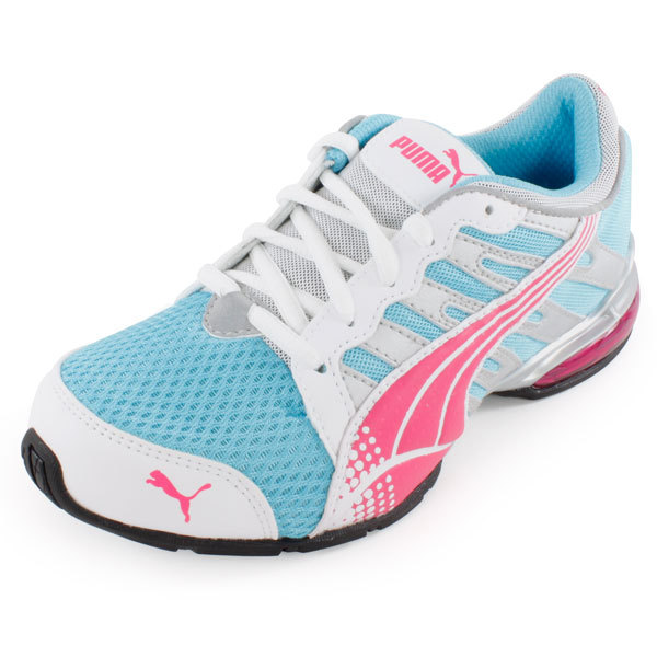 Juniors ` Voltaic 3 Running Shoes Blue And Pink