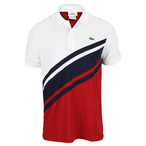 LACOSTE MENS ULTRA DRY DIAGNL STRIPE POLO WH/RD