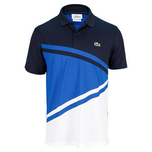 LACOSTE MENS ULTRA DRY DIAGONAL STRIPE POLO BL