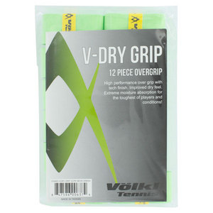 VOLKL V DRY TENNIS OVERGRIP 12 PACK NEON GREEN