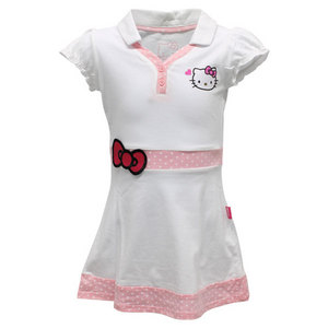HELLO KITTY GIRLS PRINCESS SLEEVE V NECK DRESS WHITE