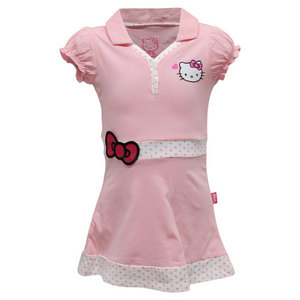 HELLO KITTY GIRLS PRINCESS SLEEVE V NECK DRESS PINK
