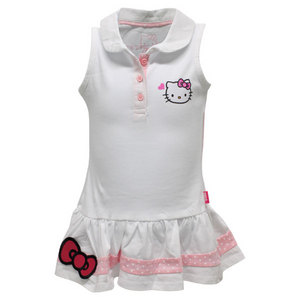 HELLO KITTY GIRLS SLEEVELESS POLO TENNIS DRESS WHITE