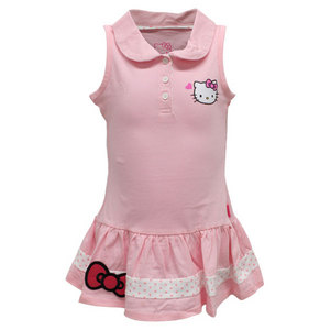 HELLO KITTY GIRLS SLEEVELESS POLO TENNIS DRESS PINK