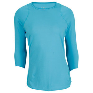 NIKE WOMENS BASELINE 3/4 SLEEVE TOP BLUE
