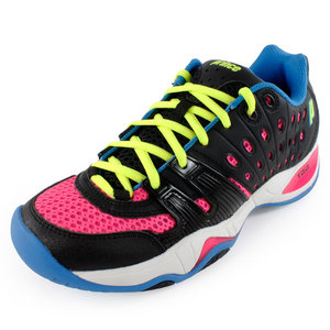PRINCE WOMENS T22 TENNIS SHOES BLACK/PINK/BLUE
