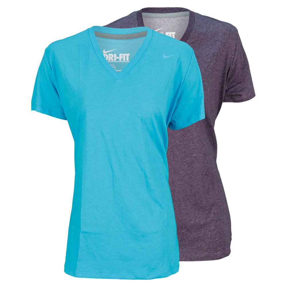 Women's Extended Slim Dri Fit Cottton Short Sleeve V Neck Training Tee
