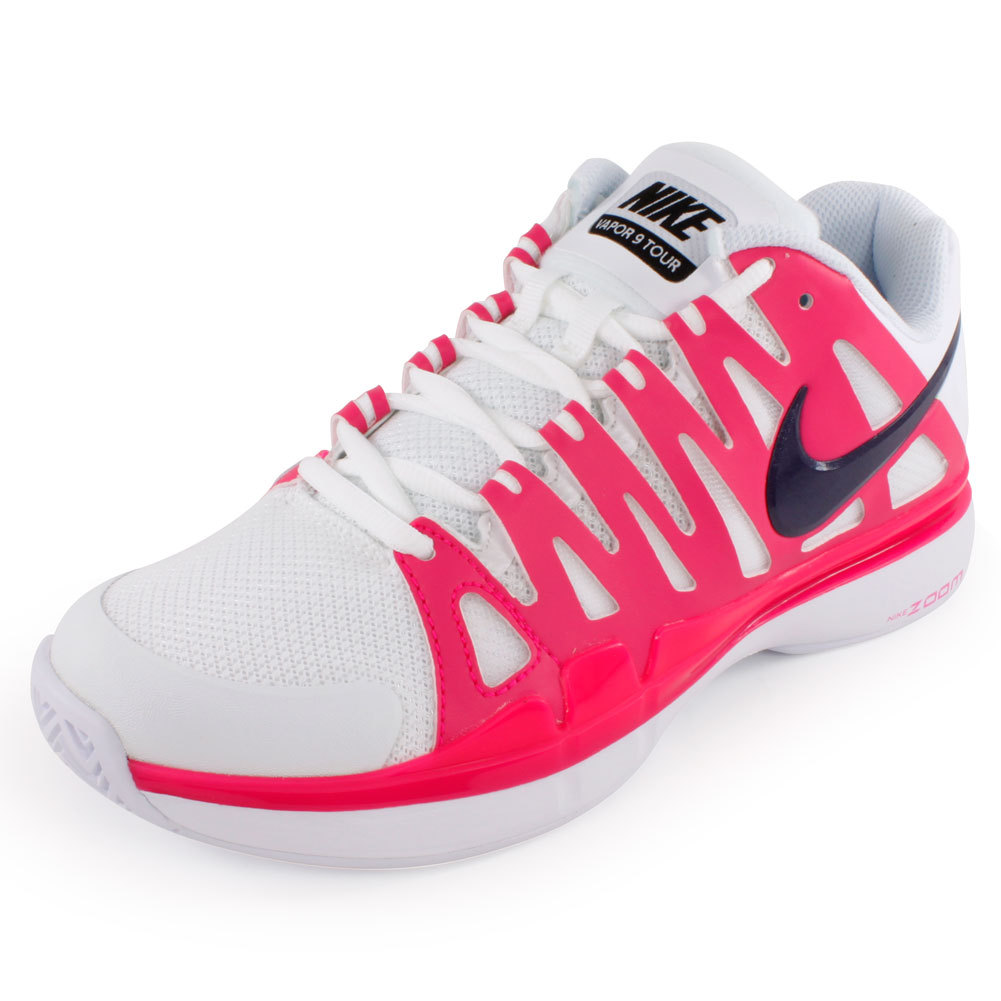 NIKE Women`s Zoom Vapor 9 Tour Tennis Shoes White and Pink
