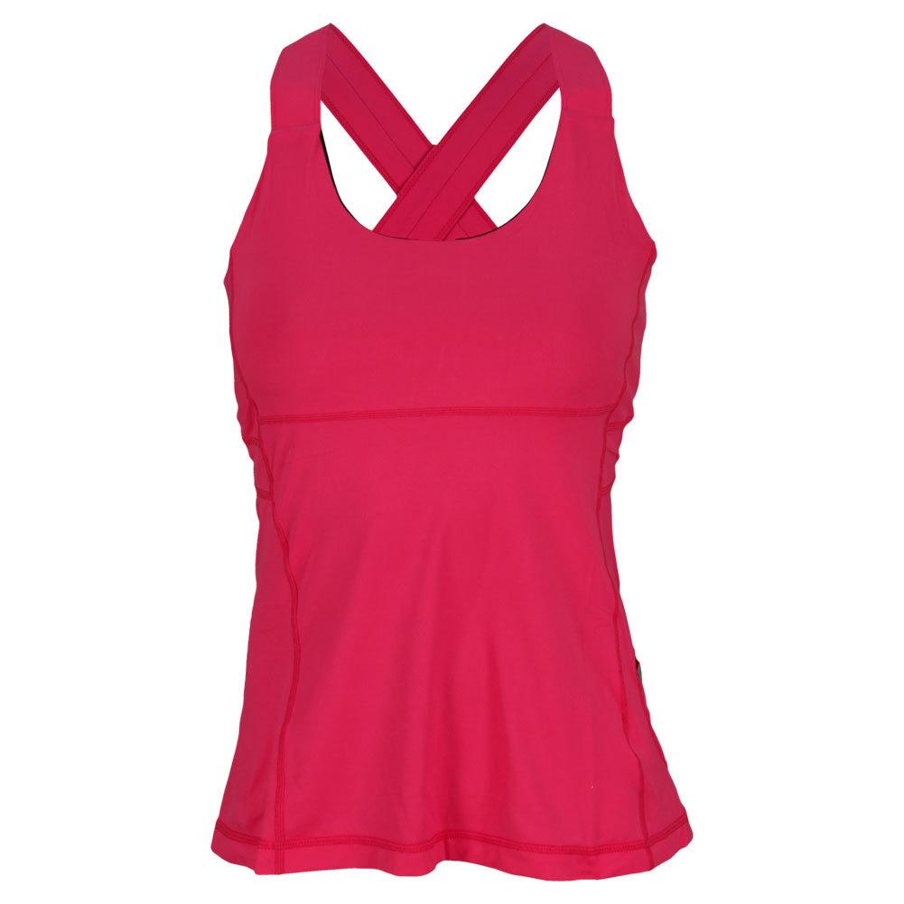 Women's Criss Cross Tennis Tank Passion Pink