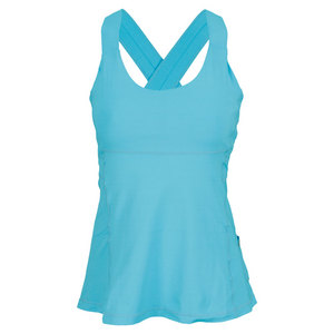 BLOQUV WOMENS CRISS CROSS TENNIS TANK LT TURQ