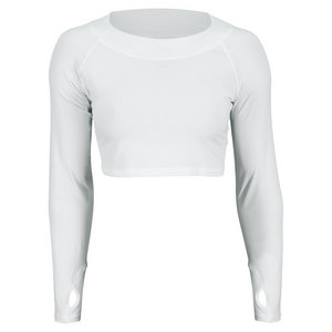 BLOQUV WOMENS TENNIS CROP TOP WHITE