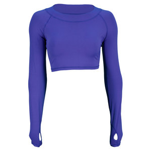 BLOQUV WOMENS TENNIS CROP TOP TWIL BLUE