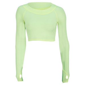 BLOQUV WOMENS TENNIS CROP TOP NEON YELLOW