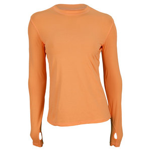 BLOQUV WOMENS 24/7 LONG SLEEVE CREW TANGERINE