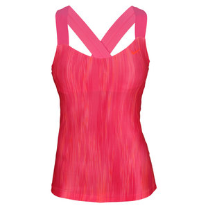 NIKE WOMENS PRINTED TENNIS TANK PINK FORCE