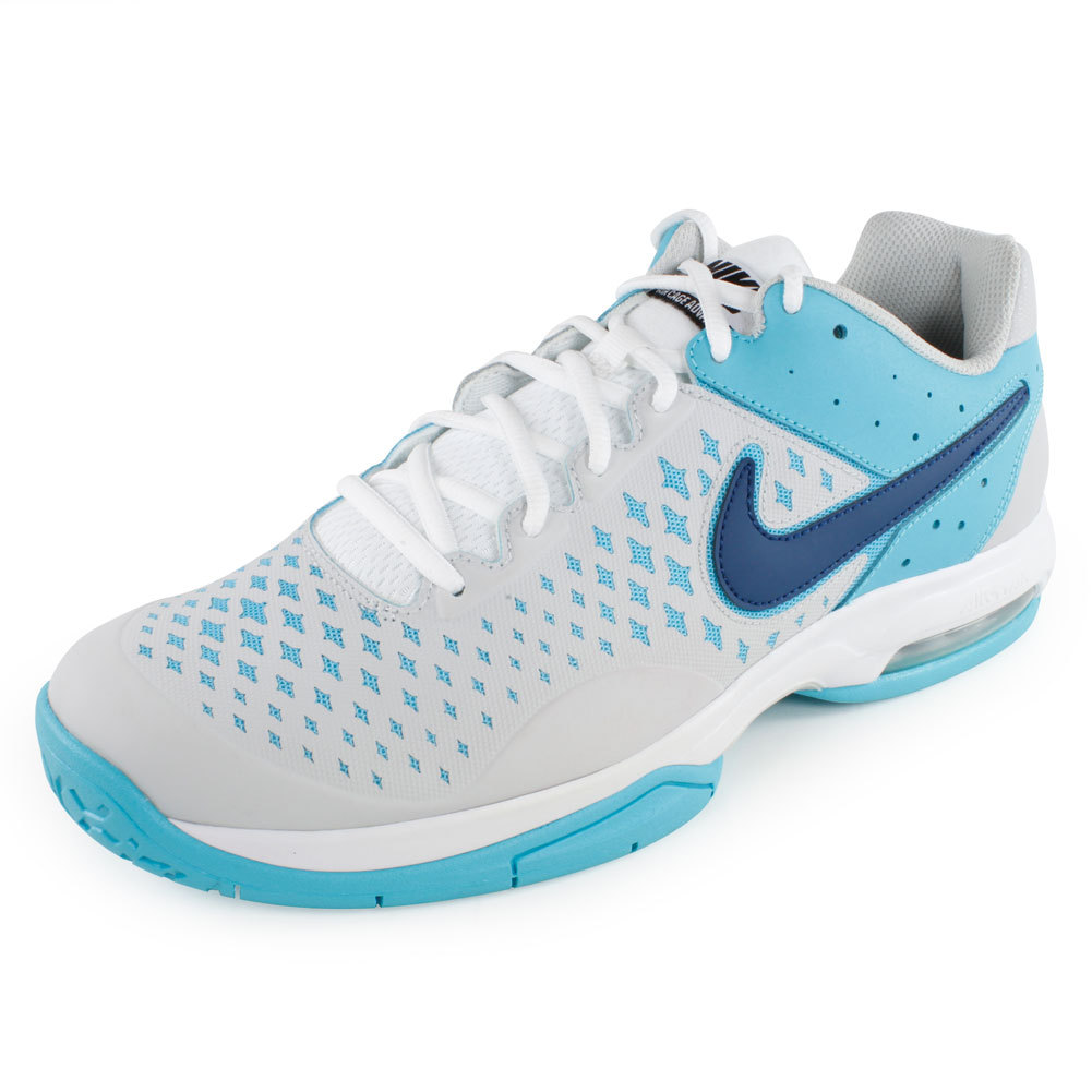 Men`s Air Cage Advantage Tennis Shoes Gray and Blue The Nike Mens Air Cage Advantage Tennis Shoes Gray and Blue are built for the best in heel cushioning A supported forefoot and plenty of structure gives these shoes the stability you need to perform your best Upper Modern cage construction for the bst in