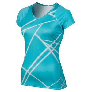 NIKE WOMENS UV PRINTED KNIT TENNIS TOP BLUE