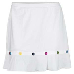 ELIZA AUDLEY WOMENS BUTTON TENNIS SKORT WHITE