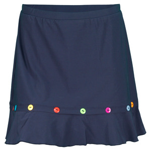 ELIZA AUDLEY WOMENS BUTTON TENNIS SKORT NAVY