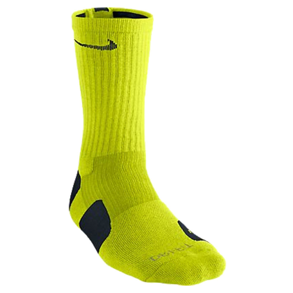 Men`s Elite Crew Socks XL 12-15 The Nike Mens Elite Basketball Crew Socks XL provide strategically placed cushioning and support designed for the quick cuts and lateral movements used in both tennis and basketball DriFit fabric wicks sweat to keep feet cool and dry Footstrike cushioning