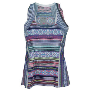 LUCKY IN LOVE WOMENS NAVAJO JERSEY TENNIS TANK PRINT