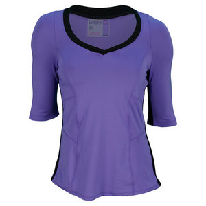 LUCKY IN LOVE WOMENS 3/4 SLEEVE TENNIS TOP PURPLE