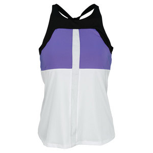 LUCKY IN LOVE WOMENS HIGH NECK TENNIS TANK WHITE/BLACK