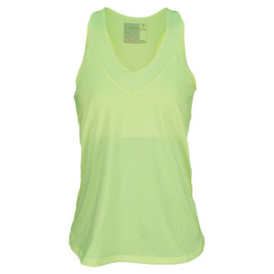 LUCKY IN LOVE WOMENS V NECK TENNIS TANK YELLOW