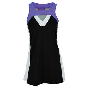 LUCKY IN LOVE WOMENS TUXEDO STRIPE TENNIS DRESS BLACK