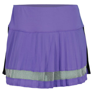 LUCKY IN LOVE WOMENS COLOR BLOCK PLEAT SKIRT PURPLE
