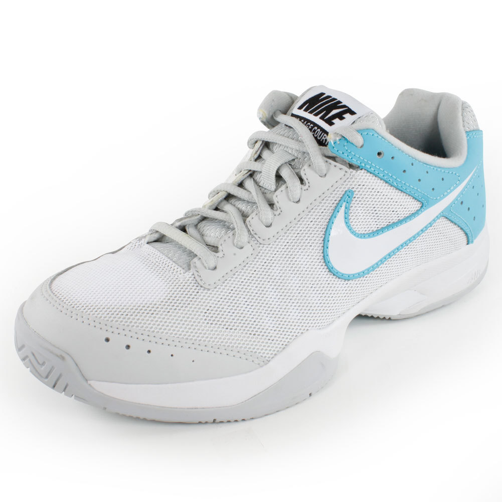 s air cage court tennis shoes gray and blue quilium