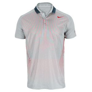 NIKE MENS PREMIER RF TENNIS POLO GRAY/RED